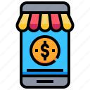 dollar, mobile, money, online, shopping, smartphone, store icon