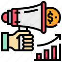 dollar, graph, growth, megaphone, promotion icon