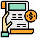document, dollar, invoice, money, reception, tax icon