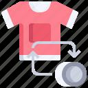 tshirt, coin, refund, shopping, money icon