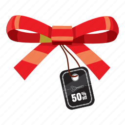 bow, cartoon, discount, offer, price, promotion, sale icon