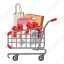 cart, cartoon, handle, interest, package, shopping, wheels icon