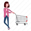 cart, cartoon, female, girl, interest, shopping, woman icon