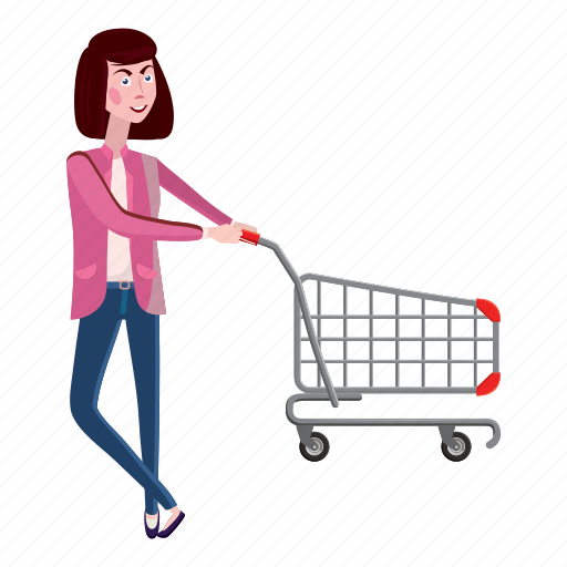 cart, cartoon, female, girl, interest, shopping, woman icon