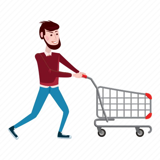 boy, cart, cartoon, interest, male, man, shopping icon