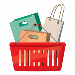 bags, basket, cartoon, handle, interest, package, shopping icon