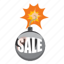 bomb, carry, cartoon, interest, money, sale, walk icon