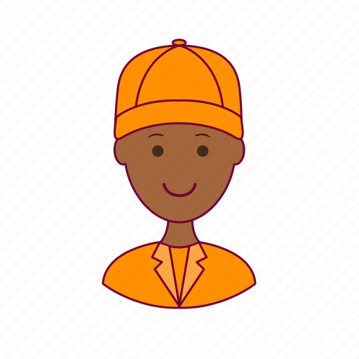 .svg, black man, cleaner, job, profession, professional, street sweeper icon