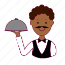 bartender, black man, garçom, job, profession, professional, waiter icon
