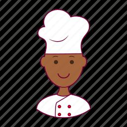 .svg, black man, chef, food, job, profession, professional icon
