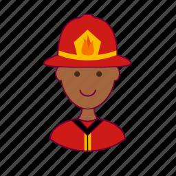 black man, bombeiro, firefighter, fireman, job, profession, professional icon