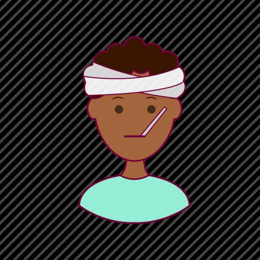 Black man, ill, job, patient, profession, professional, sick icon - Download on Iconfinder