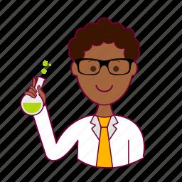 .svg, black man, cientista, job, profession, professional, scientist icon