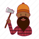 axe, black man, job, lenhador, lumberjack, profession, professional icon