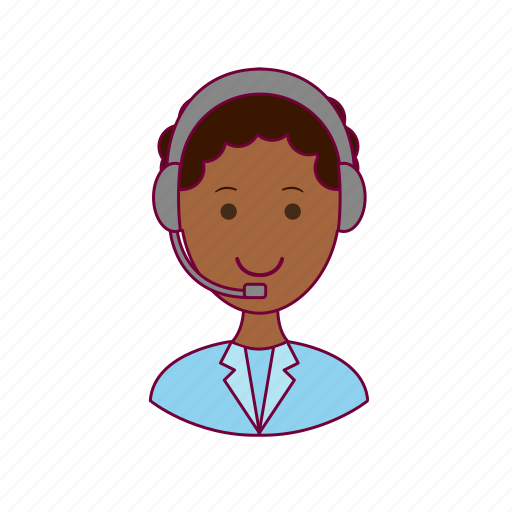 .svg, black man, job, profession, professional, telemarketing icon