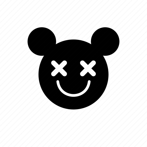 animal, emotion, mouse, smile, solid icon