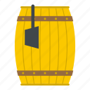 barrel, container, ladle, retro, water, wood, wooden icon