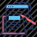article, blog, laptop, writing icon