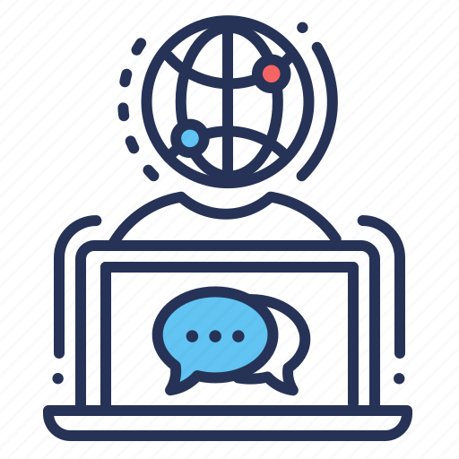 chat, laptop, messaging, online icon