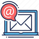 e-mail, laptop, notification, support icon