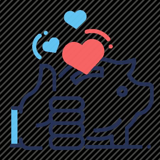 hearts, likes, piggy bank, thumb up icon