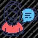 advising, answer, consultant, female icon