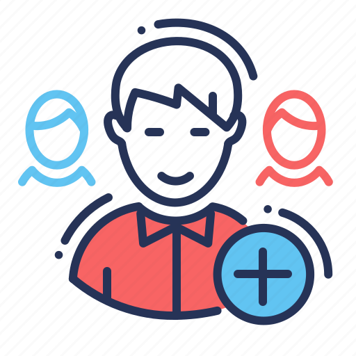 add, friend, male, request icon