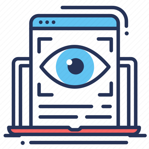 article, eye, laptop, review icon