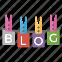 blog concept, blog on laundry hook, blog site, letters on laundry hook, online journals