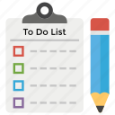 checklist, daily task, task list, to do list, work programs icon