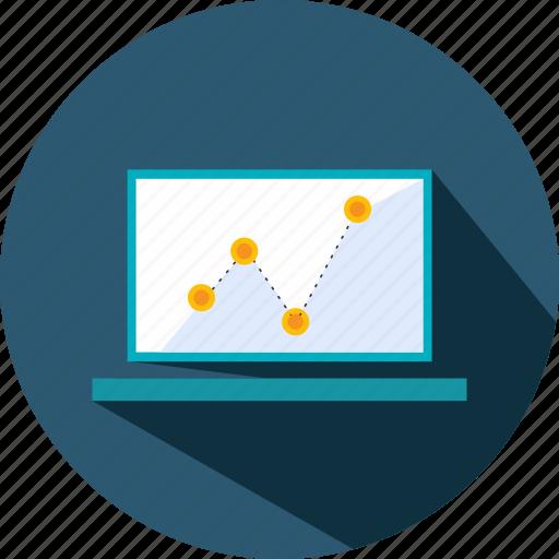 analytics, business, laptop, presentation, statistics, stats icon