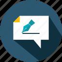 archive, education, marketing, pen, speech, speechbubble icon