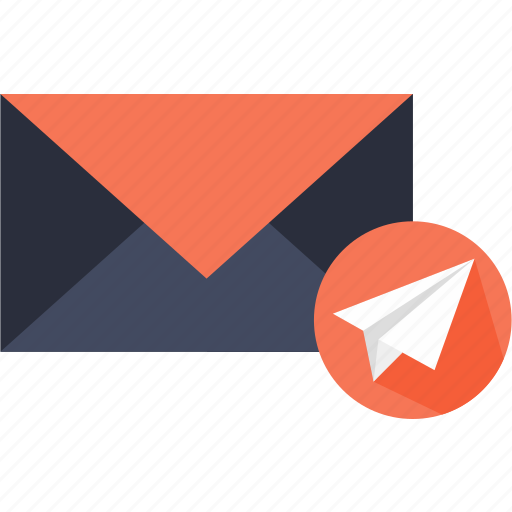 airplane, communications, interface, mail, messages, send icon
