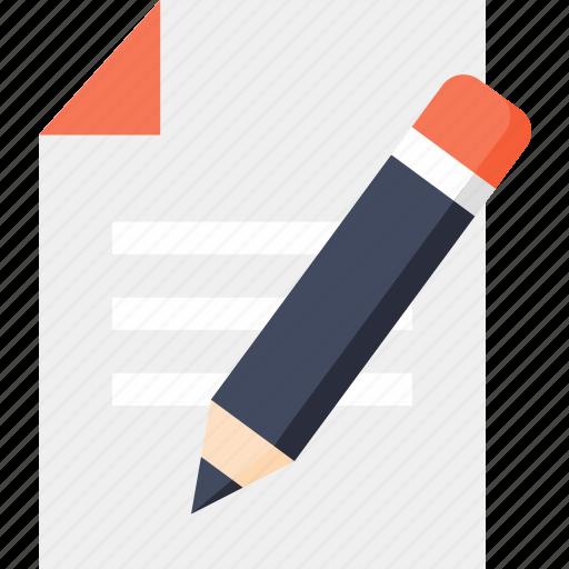 education, material, paper, pen, pencil, school, text icon