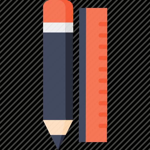 education, material, pen, pencil, ruler, school, writing icon
