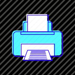 electronic, paper, print, printer icon