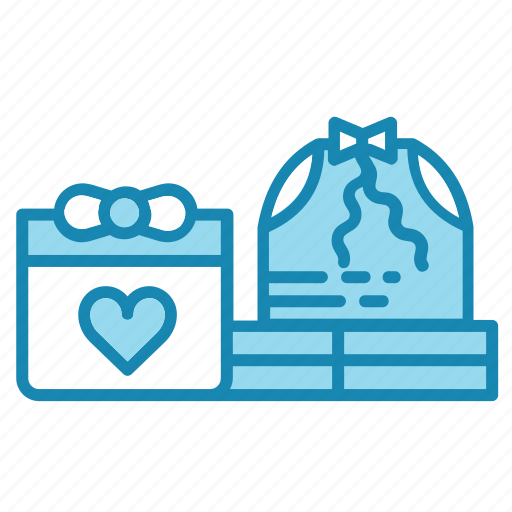 bag, bow, christmas, gift, heart, new year icon