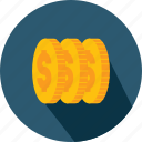 business, cash, coin, coins, currency, money, stack icon