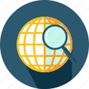 dollar, earth, globe, grid, planet, searching, startup icon