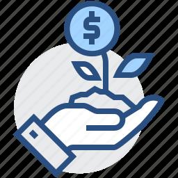 business, dollar, finance, flower, growing, hand, money icon