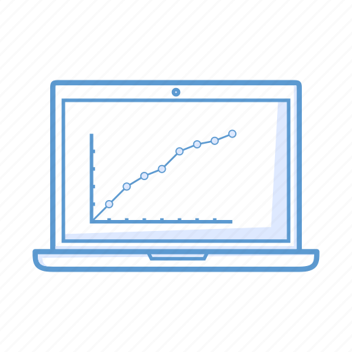 analytics, chart, growth, laptop, notebook icon