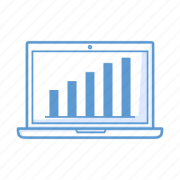analytics, chart, laptop, notebook icon