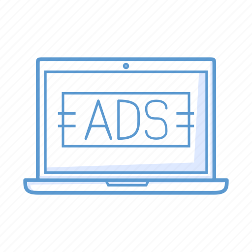 ads, advertising, laptop, notebook icon