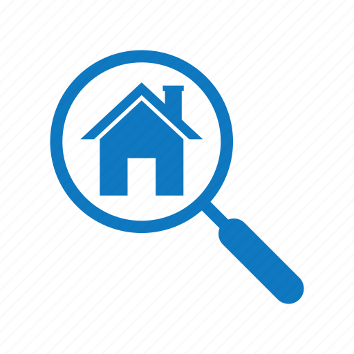 estate, house, loan, real, search icon