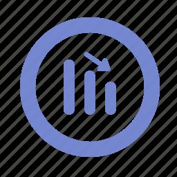 chart, down, graph, statistics icon
