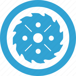 blade, blue, circular, cut, round, wood icon