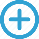 add, blue, create, function, new, round icon
