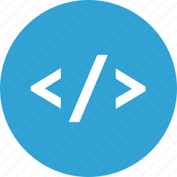 blue, code, html, programming, round icon