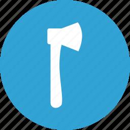 blade, blue, forest, instrument, round, wood icon