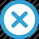ban, blue, delete, function, round, stop icon